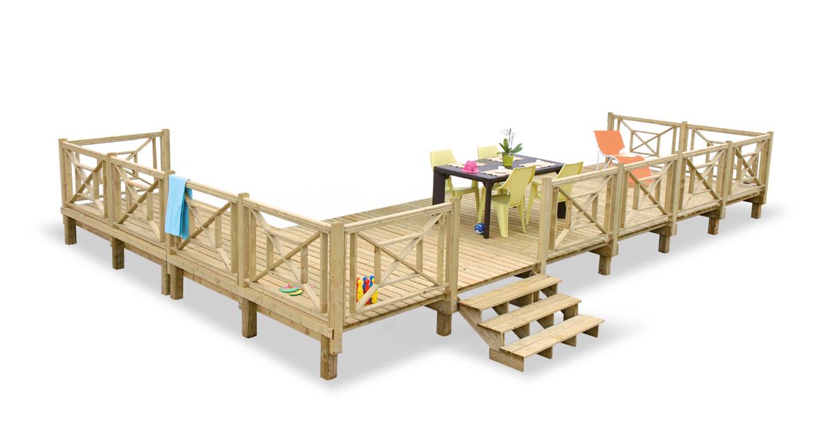 Modèle de terrasse en bois d'angle