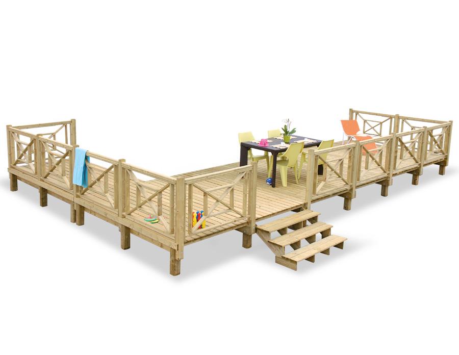 Les Terrasses du Lys proposent un terrasse d'angle en bois